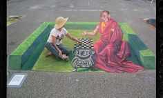 Sidewalk Art Street art Illusion Chalk Drawings II Street art is your friend 3d Street Art, 3d Street Painting, Amazing Street Art, Amazing Art, Street Work, Wall Street, Chalk Artist, 3d Chalk Art, Chalk Drawings