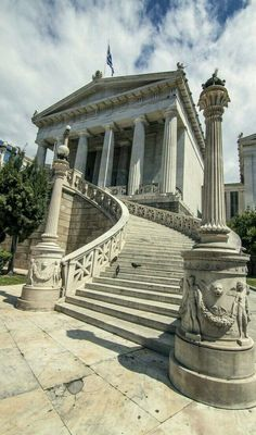 Greek National Library, Athens, Greece - Photo: Antonis Androulakis via Places Around The World, Oh The Places You'll Go, Places To Visit, Around The Worlds, Ancient Architecture, Amazing Architecture, Greece Architecture, Santorini, Beautiful World