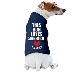 This Dog Loves America | This dog loves America! Get your dog or puppy ready for the 4th of July festivities this year with their own custom doggy shirt! Add their name and celebrate America with your pup. #4thofjuly #july4th #dogshirt