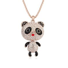 Austrian crystal sweater chain - baby pandas (white + rose gold)