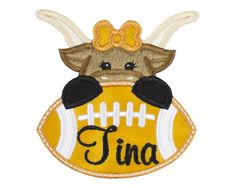 Longhorn Cow Football Personalized Patch Name Patches, Sew On Patches, Iron On Patches, Longhorn Cow, Football Fans, Cheerleading, Create Yourself, Applique