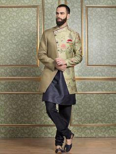 Shop Olive designer indo westen online from India. Men Ethnic Wear India, Mens Indian Wear, Indian Groom Wear, Indian Men Fashion, Indian Man, Party Fashion, Boy Fashion, Trendy Fashion, Mens Fashion