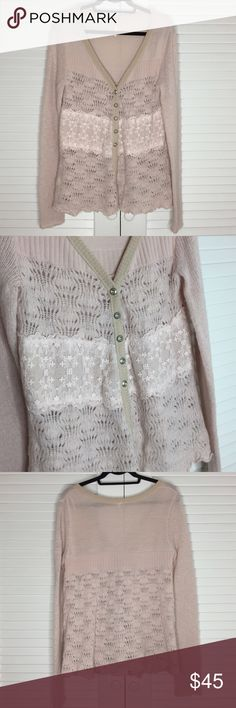Free People Pink Lace Knit Cardigan Sweater Free People Pale Pink Lace Knit Floral Accent Cardigan Sweater with silver buttons. Love the vintage and pretty aesthetic. Size Large. Free People Sweaters Cardigans