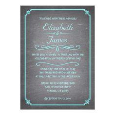 Chalkboard Wedding Reception Cards Teal and Silver Chalkboard Wedding Invitations
