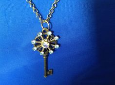 Rhinestone Key Necklace by CutesyandFun on Etsy