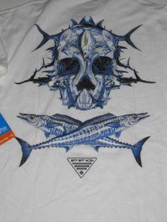 Columbia PFG Offshore Skull Logo T Shirt Mens Medium M Fish Fishing Tee New | eBay