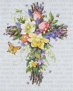 Spring Floral Cross Counted Cross Stitch Kit-11 X14  14 Count