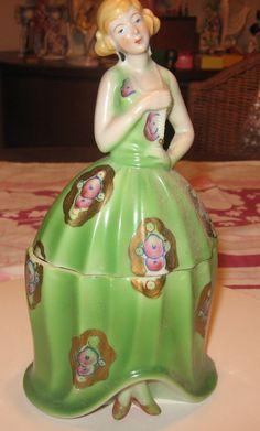 Art Deco Porcelain Lady Powder Box Vintage