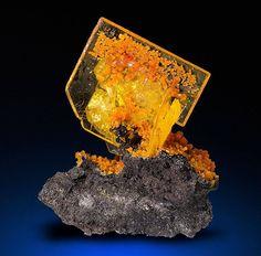 Amazing Wulfenite with Mimetite from San Francisco Mine, Cerro Prieto, Cucurpe, Sonora, Mexico
