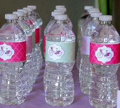 Vintage Bicycle Themed Baby Shower Water Bottle labels