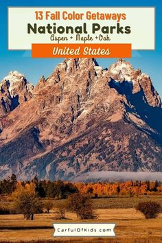 Take a Fall Color Trip to a National Park. Find U.S. National Parks from Maine's Acadia to California's Yosemite for the best fall foliage. What Parks have the best Fall Color | Where to go for a Leaf Peeping Trip | #FallColor #NationalParks Colorado National Parks, National Park Lodges, National Park Camping, California National Parks, Smoky Mountain National Park, Us National Parks, Grand Teton National Park, Yellowstone National Park, Usa Travel Guide