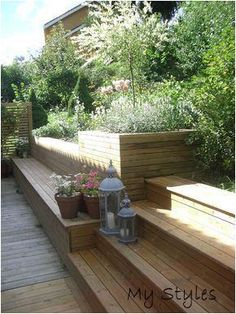 backyard designs – Gardening Ideas, Tips & Techniques Back Gardens, Outdoor Gardens, Hillside Landscaping, Sloped Garden, Garden Seating, Balcony Garden, Backyard Patio, Patio Stairs, Garden Projects