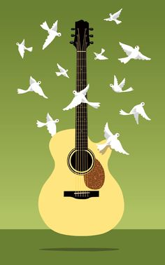 doves flying over an acoustic guitar, by craig frazier.