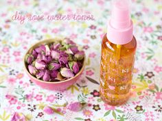 Rose water is mildly astringent and calming. Helps to balance and reconditions the skin. Ingredients  20 grams rose buds rinsed; preferably organic  300 ml distilled pure water boiled strainer and funnel   spray bottle. Instructions: Place rose buds in a tea pot. Pour boiling water over rose buds, cover tea pot with lid and let the tea infuse for 1-2 hours.Strain the tea and transfer rose water to a spray bottle. Store in fridge for up to one week.