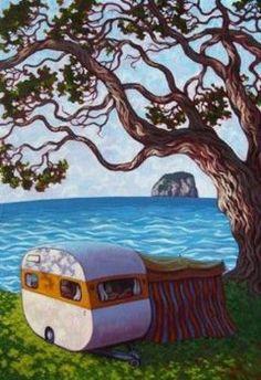 Rachel Olsen Artist - buy Original New Zealand Art Nz Art, Art For Art Sake, Contemporary Artwork, Contemporary Artists, Polymer Clay Painting, New Zealand Art, Art Folder, Kiwiana, Tree Illustration