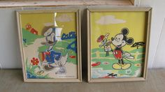 Vintage Disney Prints Framed - Donald Duck and Mickey Mouse - Shabby Chic - Nursery - Wall Decor - Wall Art