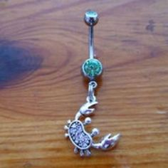 Cute crab belly button ring