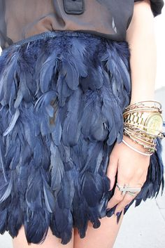 Navy feather skirt. Wish people wore things like this in real life