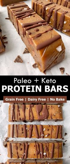 These homemade protein bars are low carb, paleo and keto friendly. They're made with broth protein powder, almond flour, almond butter and lightly sweetened with monk fruit. This is a great clean eating, no bake protein bar recipe! #nobake #proteinbar #bonebroth No Bake Protein Bars, Protein Bar Recipes, High Protein Snacks, Healthy Dessert Recipes, Healthy Baking, Snack Recipes, Dairy Free Keto Recipes, Eggless Recipes, Egg Free Recipes