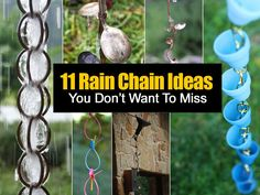11 DIY Rain Chain Ideas A rain chain can make any garden / house look amazing and quirky. These DIY rain chain projects are. Garden Crafts, Garden Projects, Diy Projects, Garden Fun, Simple Projects, Rain Garden, Summer Garden, Water Garden, Garden Paths