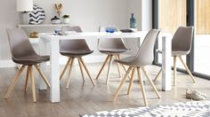 Grey dining table and chairs uk weathered gray set sale modern gloss 6 kitchen charming fern Grey Dining Room Chairs, White Gloss Dining Table, Warm Dining Room, 4 Seater Dining Table, Grey Dining Tables, Plastic Dining Chairs, Dining Chair Set, Dining Room Design, Dining Furniture