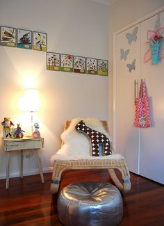 Nursery- Ikea chair and sheepskin