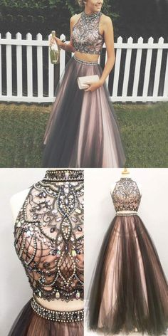 Long Prom Dresses, Two Piece Grey Prom Dress - High Neck Sleeveless Floor Length with Beading