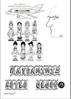 23 Nisan boyama sayfası Diy And Crafts, Classroom, Activities, Education, Math, Words, School, Children, Class Room