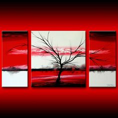 Landscape 301 Tree Art On Geometric Red White Squares Triptych Wall Decor Decorative, painting by Theo Dapore