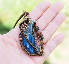 Beautiful Blue Agate Bloodstone Metal Bead Wire Wrap Gemstones Pendant Necklace #Jeanninehandmade #Pendant