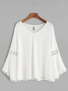 ZANZEA Casual Lace Patchwork Solid Baggy Blouses can cover your body well, make you more sexy, Newchic offer cheap plus size fashion tops for women. Girl Fashion, Fashion Outfits, Fashion Ideas, White V Necks, Plus Size Blouses, White Tops, White White, White Lace, Cotton Dresses