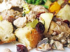 Sausage, Apple, and Cranberry Stuffing | A Hint of Honey
