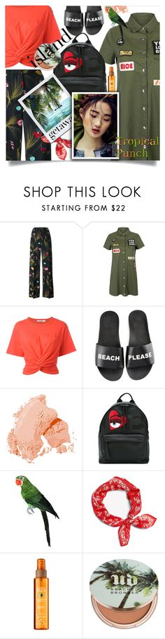 """Tropical Punch"" by wuteringheights ❤ liked on Polyvore featuring Fendi, WithChic, T By Alexander Wang, Schutz, Bobbi Brown Cosmetics, Chiara Ferragni, rag & bone, Urban Decay and islandgetaway"