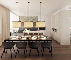 вид из столовой на кухню