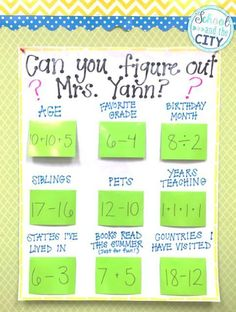 """School and the City: How to Make a Reusable, Interactive, """"Math About Me"""" Anchor Chart -- so cute for meet the teacher, open house, or back to school! Adapt the math problems to your grade level."""