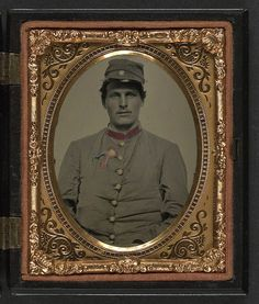 [Unidentified soldier in Confederate artillery jacket with secession badge and artillery forage hat] (LOC), via Flickr.