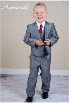Nr.21 Silbergrauer Kinderanzug für einen besonderen Tag! - Princessmoda - Alles für Taufe Kommunion und festliche Anlässe