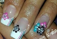 Uñas decoradas                                                                                                                                                                                 Más Coffen Nails, Pink Nails, French Nail Art, French Tip Nails, Cute Spring Nails, Flower Nail Art, Pretty Nail Art, Nail Games, Beautiful Nail Designs