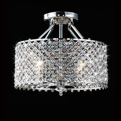 Chrome/ Crystal 4-light Round Ceiling Chandelier | Overstock.com Shopping - The Best Deals on Chandeliers & Pendants