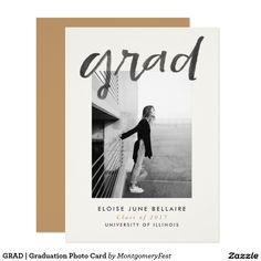 Hand Lettered GRAD   Graduation Announcement Photo Card