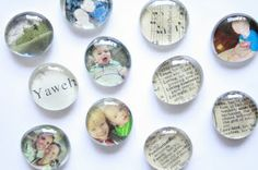 Love these DIY glass magnets! Would be great mother's day gift idea using family photos etc.