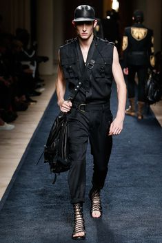 Sleeveless safari jumpsuit | Balmain Spring 2016 Menswear - Collection - Gallery - Style.com