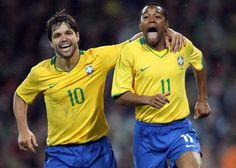 Brazil's Robinho, right, celebrates with Diego Ribas after scoring against Ireland at Croke Park, Dublin. 2008