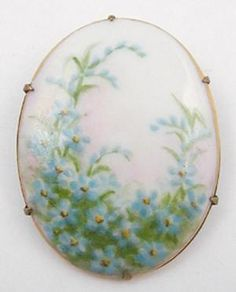 Victorian Hand Painted Porcelain Brooch Of Forget-Me-Not Flowers On Brass Frame