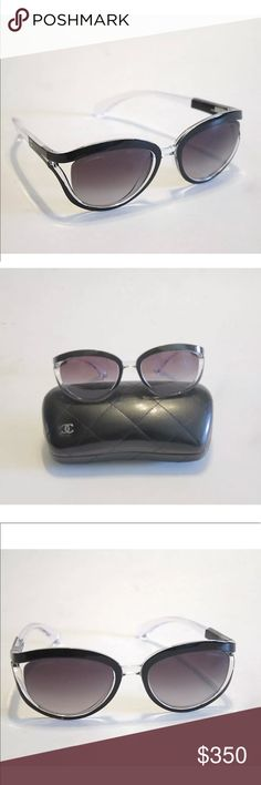 643016ce8530a CHANEL BLACK   CLEAR SUNGLASSES WITH CASE Stunning sunglasses from Chanel  with black and Clear frames. 71160 S6916 3N Includes case Authenticity  Guaranteed!