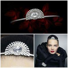 Modern diamond Cartier tiara. Starts out as a watch/bracelet but a piece of the bracelet may be worn as a rose-cut cushion shaped diamond tiara set with brilliant-cut diamonds and a pear-shaped diamond. http://cartier.watchprosite.com/show-forumpost/fi-886/pi-5959548/ti-874393/t-cartier-cartier-conundrum-1-watch-tiara-and-brooch/
