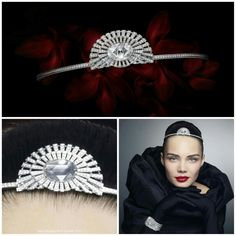 Modern diamond Cartier tiara. Startes out as a watch/bracelet but a piece of the bracelet may be worn as a rose-cut cushion shaped diamond tiara set with brilliant-cut diamonds and a pear-shaped diamond. http://cartier.watchprosite.com/show-forumpost/fi-886/pi-5959548/ti-874393/t-cartier-cartier-conundrum-1-watch-tiara-and-brooch/
