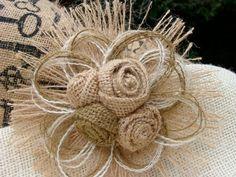 Rustic Wedding Burlap Flower Hair Clip or Pin  City by resadavid