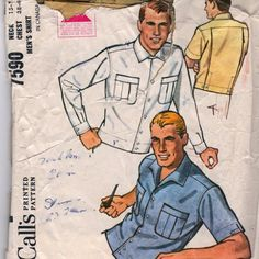 McCalls 7590 1960s Mens Shirt Pattern Jacket like waisstband Back Pleats adult teen vintage sewing pattern  | PatternGate - Craft Supplies on ArtFire