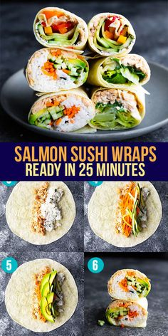 These three salmon wraps deliver big on flavor, are simple to prepare, and are perfect for an easy lunch! Made with simple ingredients, you can make them quickly. Salmon Sushi Wraps ready under 30 minutes! #sweetpeasandsaffron #bestlunchideas #simpleingredients #readyunder30minutes #salmon Lunch To Go, Lunch Meal Prep, Meal Prep Bowls, Lunch Box, Work Lunches, Prepped Lunches, Lunches And Dinners, Best Lunch Recipes, Amazing Recipes